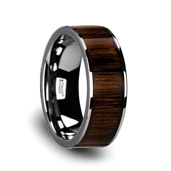 Bokken Flat Tungsten Wedding Band With Black Walnut Wood Inlay Polished Edges 7mm 10mm