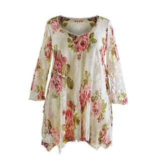 Women's Tunic Top - Victorian Roses Two-Piece Floral Blouse with Lacy Overlay