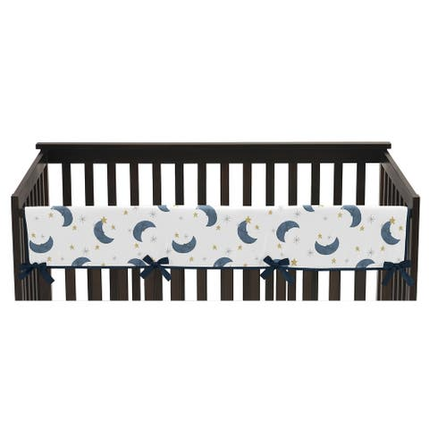 Moon and Star Collection Boy or Girl Long Crib Rail Guard Cover - Navy Blue and Gold Watercolor Celestial Sky