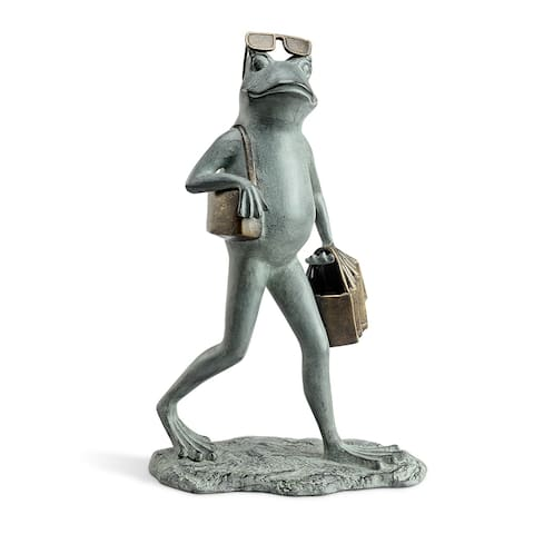 Suave Shopper Frog Garden Sculpture - Medium