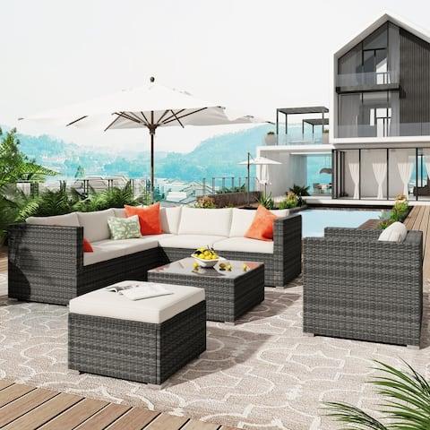 8 Pieces Patio Wicker Corner Sofa with Cushion, Ottoman & Coffee Table