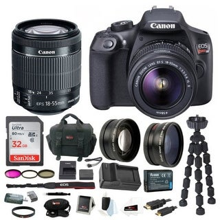 Canon T6 EOS Rebel DSLR Camera w/ EF-S 18-55mm IS II Lens & 58mm Wide & Telephoto Lens Bundle