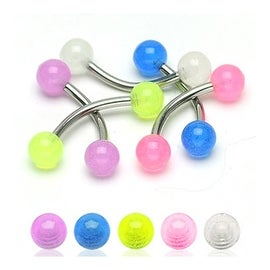 "Surgical Steel Eyebrow with Ultra Violet Glow in the Dark Balls - 16GA 5/16"" Long (Sold Ind.)"