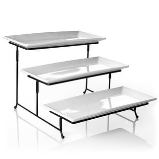Link to Gibson Elite Gracious Dining 3 Tier Plate Set with Metal Stand Similar Items in Serveware