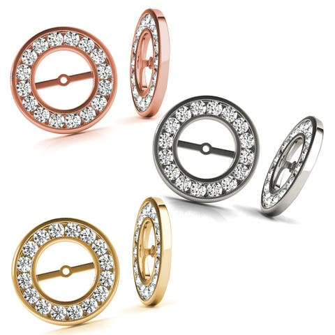 0.50 CT Halo Round Cut Diamond Stud Solitaire Earring Jackets in 14KT Gold