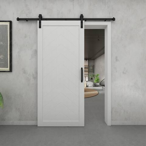 Herringbone - White Vinyl Barn Door with Installation Hardware Kit