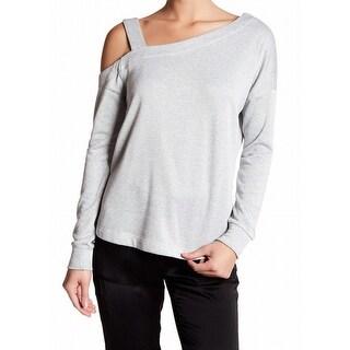 Harlowe & Graham NEW Gray Womens Size Medium M One-Shoulder Sweatshirt