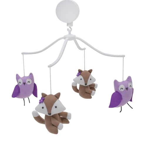 Bedtime Originals Lavender Woods Purple Owl and Brown Fox Musical Baby Crib Mobile