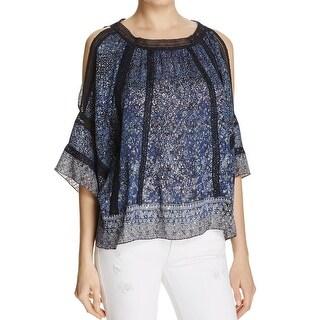 Elie Tahari NEW Blue Women's XL Floral Crochet Metallic Blouse Silk