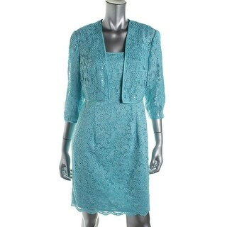 Alex Evenings Womens Petites Lace Sequined Dress With Cardigan