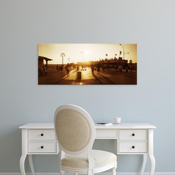 Easy Art Prints Panoramic Images's 'Tourists, Coney Island Boardwalk, Coney Island, Brooklyn, New York City' Canvas Art