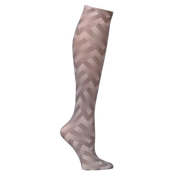 Celeste Stein Women's Mild Compression Knee High Stockings - Taupe Zigzag - Medium