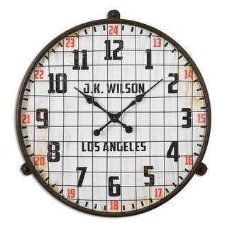 "32.125"" Sports Inspired Rusted Brown Wire Cage Wall Clock with Bold Red Accents"