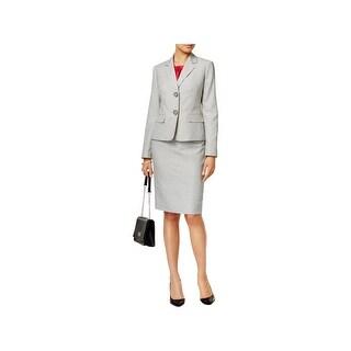 Le Suit Womens Seychelles Skirt Suit 3PC Pinstriped