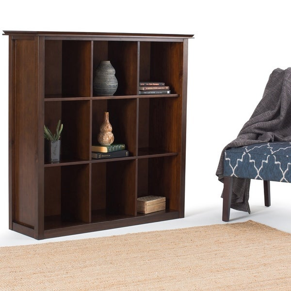"""WYNDENHALL Stratford SOLID WOOD 45 inch x 43 inch Transitional 9 Cube Bookcase and Storage Unit - 43.2""""w x 15""""d x 44.6"""" h. Opens flyout."""