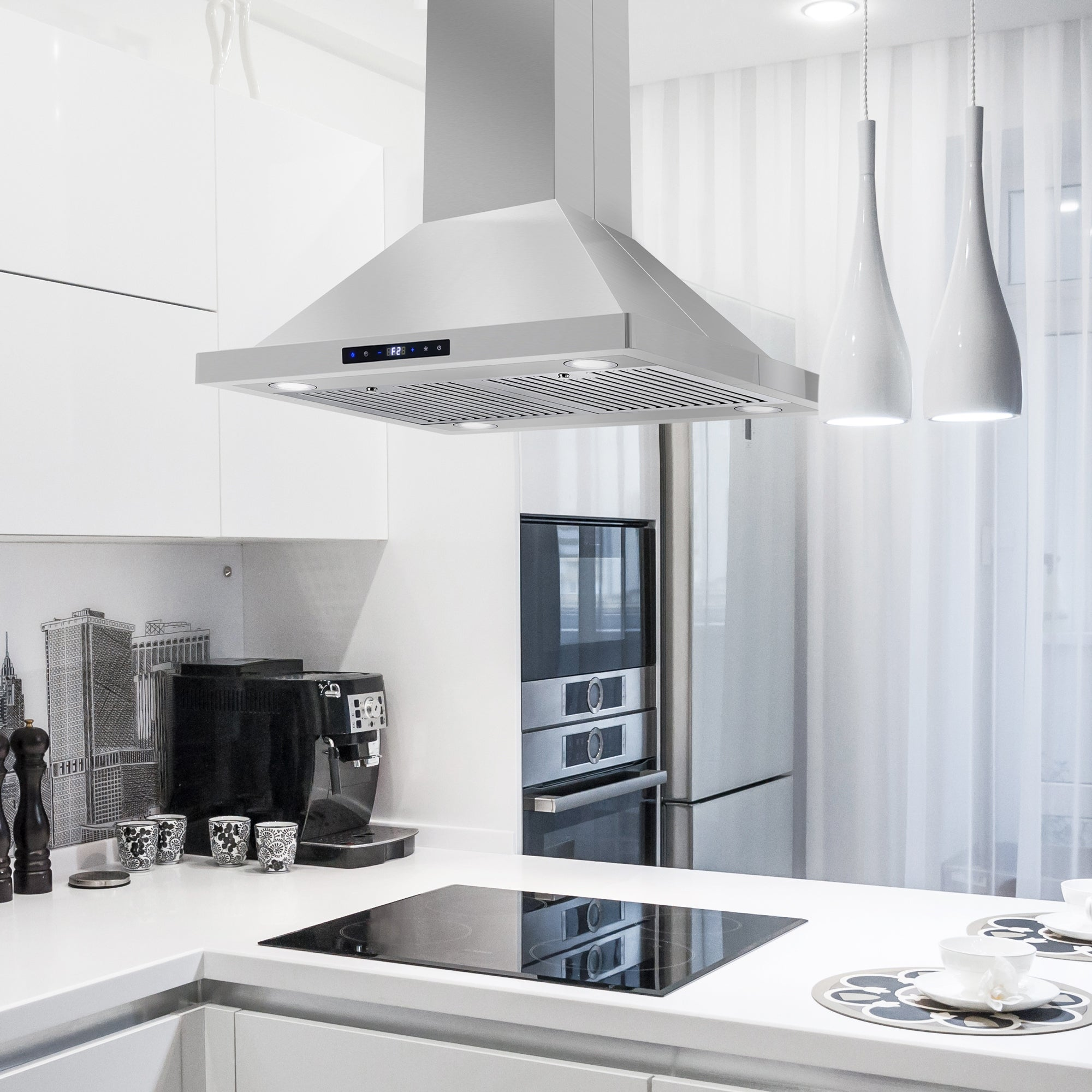 Picture of: Shop Black Friday Deals On 30 In Ductless Island Mount Range Hood In Stainless Steel With Led Lighting And Permanent Filters Overstock 21678611