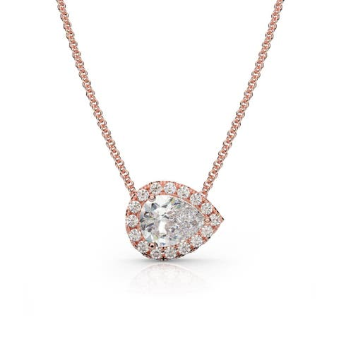 1.20 CT Moissanite & Lab Diamond East-West Pear Halo Necklace 14K Gold - 18