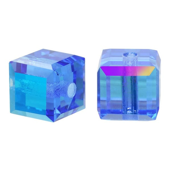 Swarovski Crystal, 5601 Cube Beads 6mm, 4 Pieces, Sapphire AB