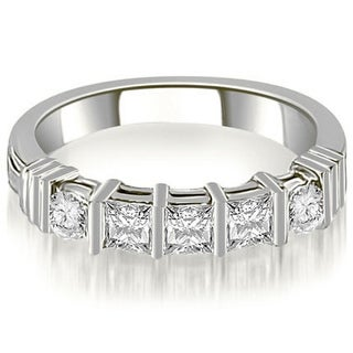 0.70 CT.TW Princess And Round Cut Diamond Wedding Band in 14KT Gold