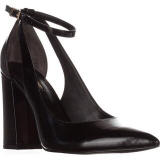 GUESS Braya Semi Slingback Ankle Strap Pointed Toe Dress Pumps, Black Multi