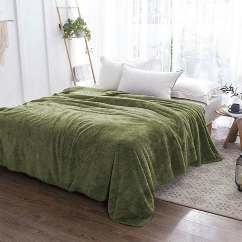 Soft Faux Fur Fleece Reversible Blanket Throw Green