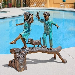 Design Toscano The Adventure, Boy and Girl on Log Cast Bronze Garden Statue