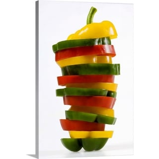 """""""Green, red, and yellow pepper"""" Canvas Wall Art"""