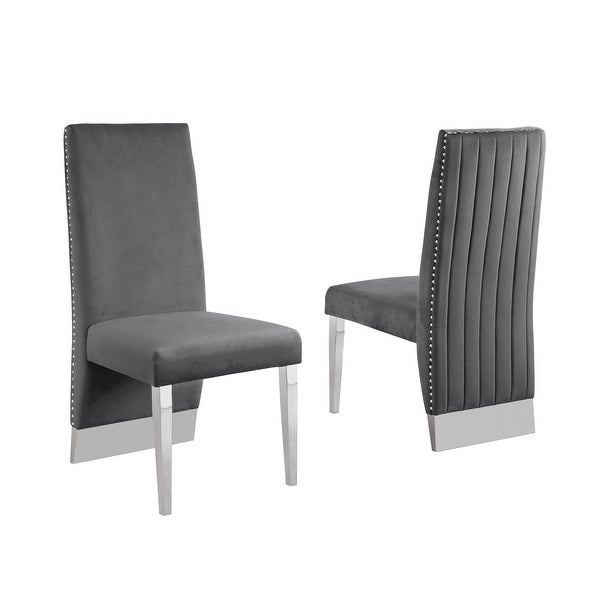 Best Quality Furniture Dining Chair includes Pleated Back, Nailhead-Trimmed, Chrome-Legged Chair (Set of 2). Opens flyout.