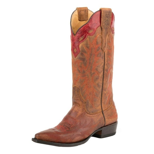 Stetson Western Boots Womens Ginger Leather Brown