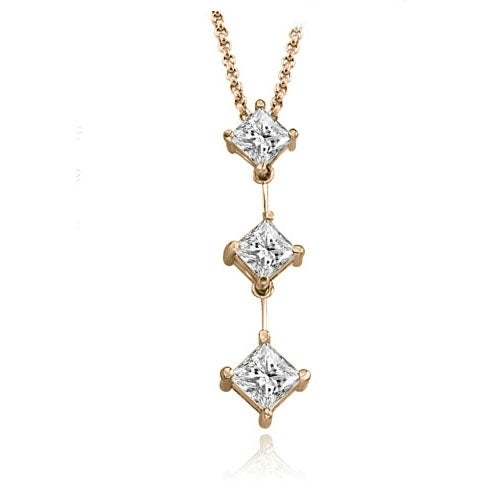 1.00 cttw. 14K Rose Gold Princess Cut Diamond Three-Stone Pendant