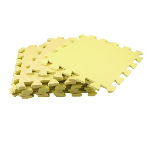 Home Bathroom Antislip Floor Dry Textured Pattern Yellow Mat Pad 9Pcs