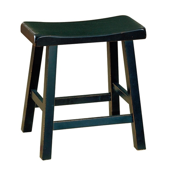 Shop Wooden 18 Quot Counter Height Stool With Saddle Seat Black Set Of 2 Free Shipping