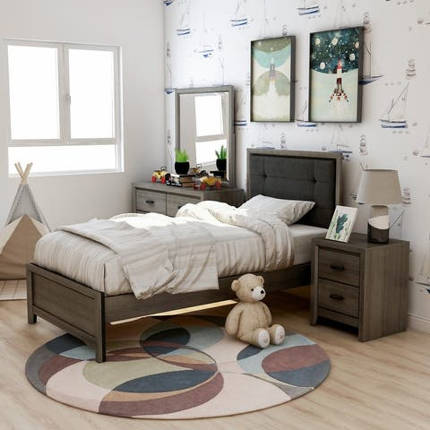 Furniture of America Aury Transitional Grey 4-piece Bedroom Set