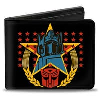 Optimus Prime Crest Black Yellow Red Blue Bi Fold Wallet - One Size Fits most