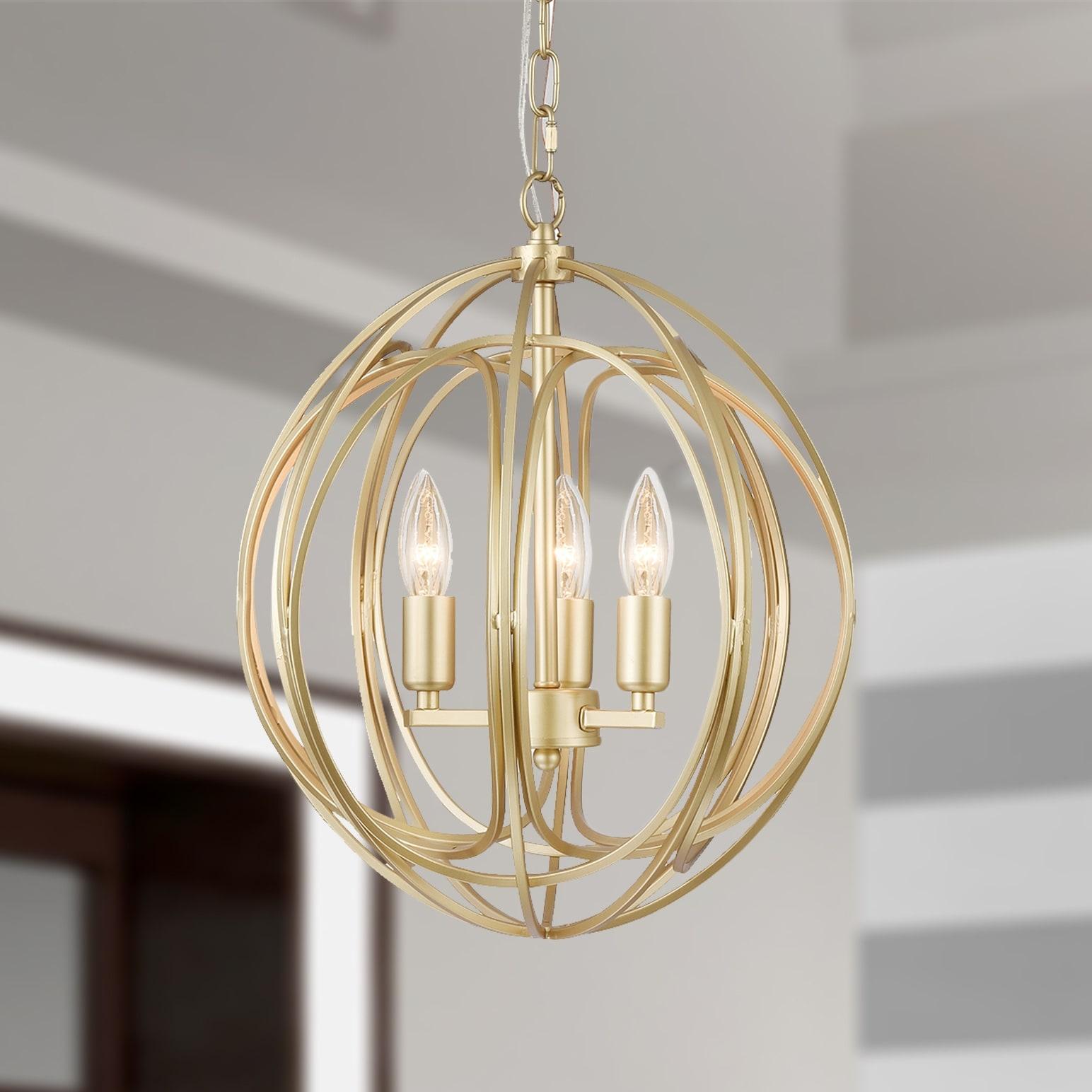 Shop Nelpin Soft Brushed Gold 3 Light Globe Cage Pendant On Sale Overstock 21340122