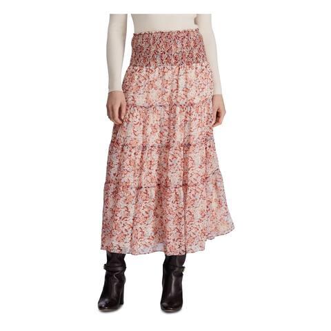 RALPH LAUREN Womens Red Floral Maxi Peasant Skirt Size 10