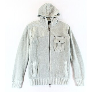 INC NEW Gray Mens Size Large L Pocket Full Zip Hooded Knit Sweater