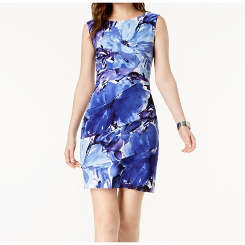 Connected Apparel Blue Womens Size 14 Floral Tiered Sheath Dress