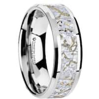 THORSTEN - MESOZOICFlat Style Tungsten Carbide Wedding Ring with White Dinosaur Bone Inlay and Polished Beveled Edges f