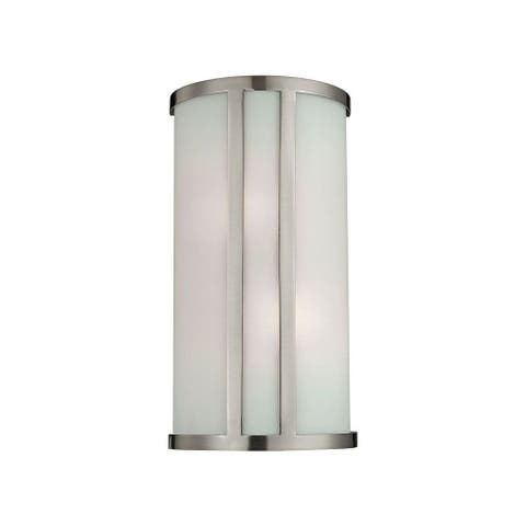 Cylinder White Glass With Brushed Nickel Flush Two Light Wall Sconce - Cylinder Flush Mount Style