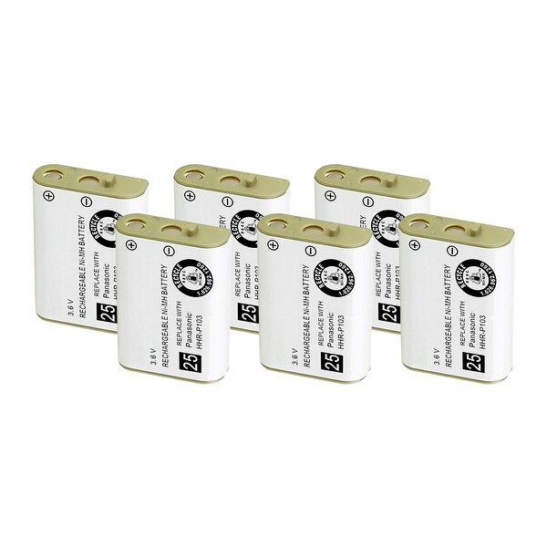 Replacement Battery For Panasonic KX-TG2383 Cordless Phones - P103 (750mAh, 3.6V, NiMH) - 6 Pack