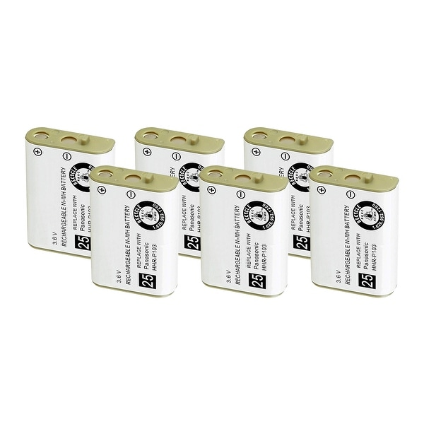 Replacement For Panasonic N4HHGMB00001 Cordless Phone Battery (750mAh, 3.6V, NiMH) - 6 Pack