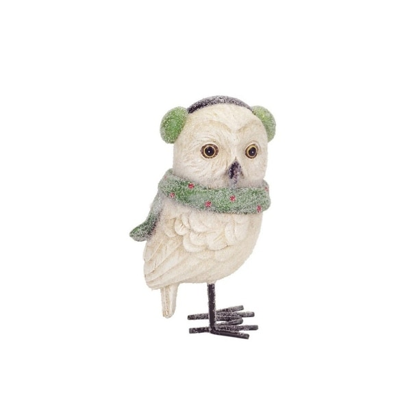 """6.25"""" Frosted White Owl with Green Scarf and Ear Muffs Christmas Figurine"""