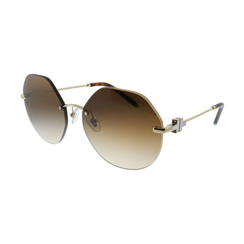 Tiffany & Co. TF 3077 60213B Womens Pale Gold Frame Brown Gradient Lens Sunglasses