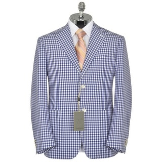Canali Kei Cotton and Silk Blue Check Unstructured Slim Fit Sportcoat 46R