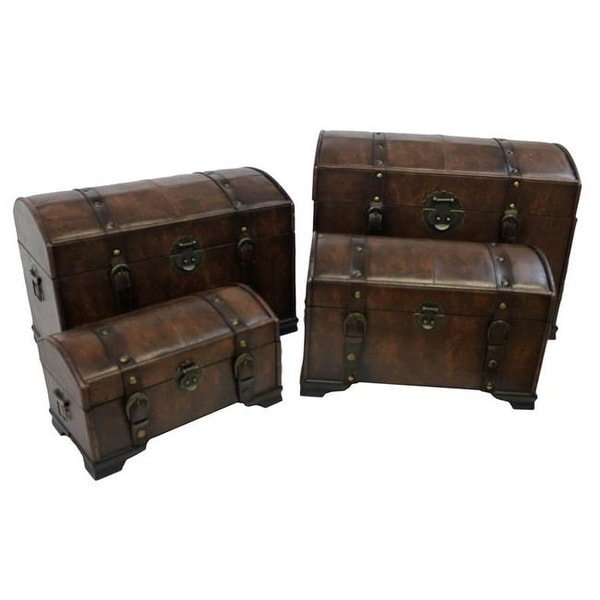 75dc23b48 Shop Faux Leather Trunk Set, Saddle Brown - 4 Piece - Free Shipping Today -  Overstock - 25009241