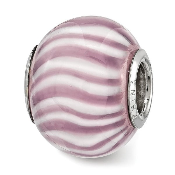 Sterling Silver Reflections Purple and White Striped Glass Bead (4.5mm Diameter Hole)