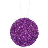 "4ct Purple Majesty Sequin and Glitter Drenched Christmas Ball Ornaments 4"" (100mm)"