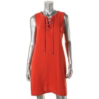 Sandra Darren Womens Wear to Work Dress Textured Lace-Up