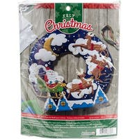 "Over The Rooftop Wreath Felt Applique Kit-15"" Round"